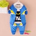 2016 Fashion baby boy's clothing set children's sets cotton 2016 baby boys set fashion Cartoon 3Pcs coat +T-Shirt+Pants sets