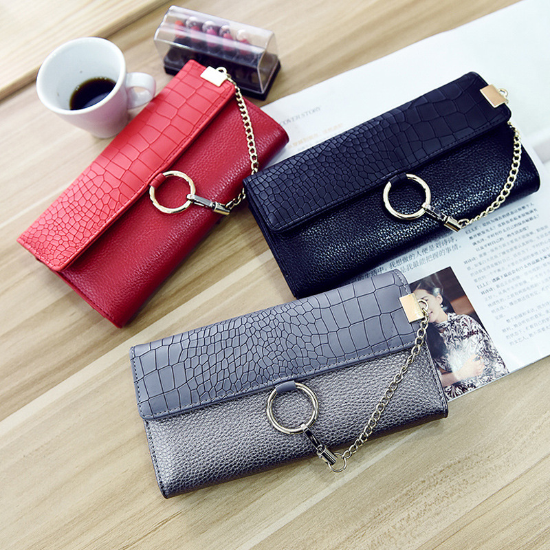 2018 Hot Sale!New Arrival Luxury women Wallet  PU Leather Fashion Girls Wallet Stone Ladies Female Coin Purses Clutch ST1301
