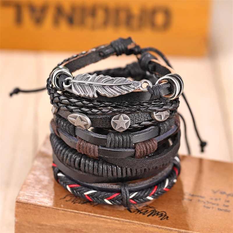 IFMIA skórzana bransoletka w stylu Vintage moda ręcznie robiona wielowarstwowa skórzana bransoletka z piór i modna męska bransoletka prezent
