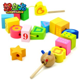Candice guo wooden toy educational wood block colorful caterpillar digital shape stringing bead game kid birthday gift 20pcs/set