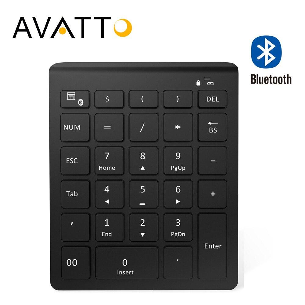 AVATTO 28 llaves Bluetooth teclado numérico inalámbrico Mini teclado numérico con más teclas de función teclado Digital para PC las tareas contables