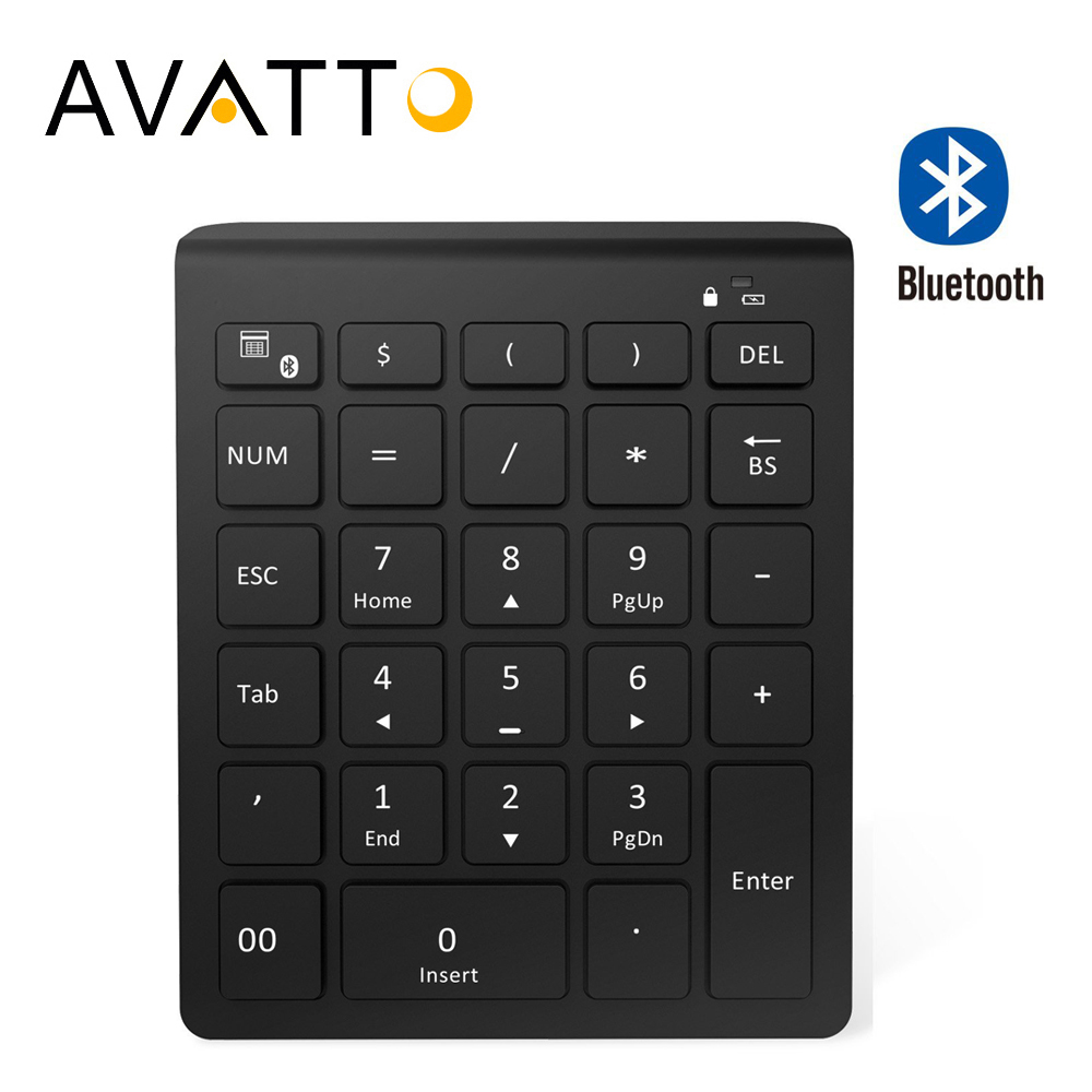 AVATTO 28 Keys Bluetooth Wireless Numeric Keypad Mini Numpad with More Function Keys Digital Keyboard For PC Accounting tasks motospeed k22 mechanical numeric keypad wired 22 keys mini numpad backlight keyboard extended layout for cashier red switch