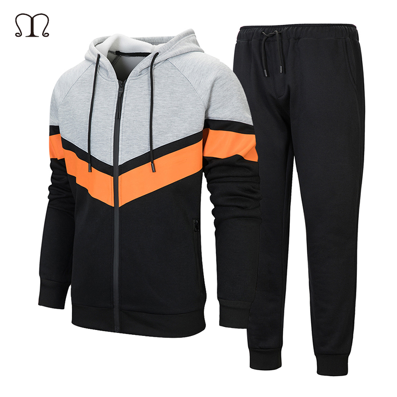 TOP Fighting Men Sports Tracksuit Set Stretchy Trousers Hooded Coat Jacket Pants Jogging
