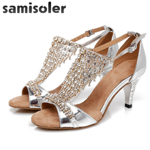 SamisolerDance Shoes Rhinestone Sneakers Dance Women Latin Salsa Tango Waltz Square Ladies