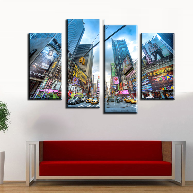 2017 Sale Cuadros 4 pcs Busy City Streets Wall Painting Print On Canvas For Home Decor Ideas Paints Pictures Art Free Shipping