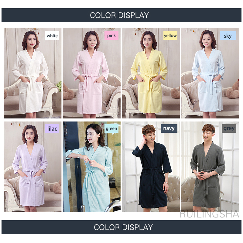 Lovers Summer Water Absorption Fashion Towel Bath Robe Men Sexy Kimono Waffle Bathrobe Mens Plus Size Dressing Gown Male Robes #6