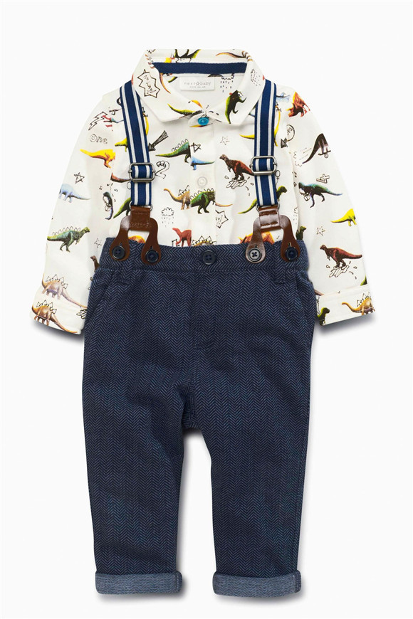 2016 baby boy clothing font b set b font long sleeve dinosaur shirt overall pants 2pcs