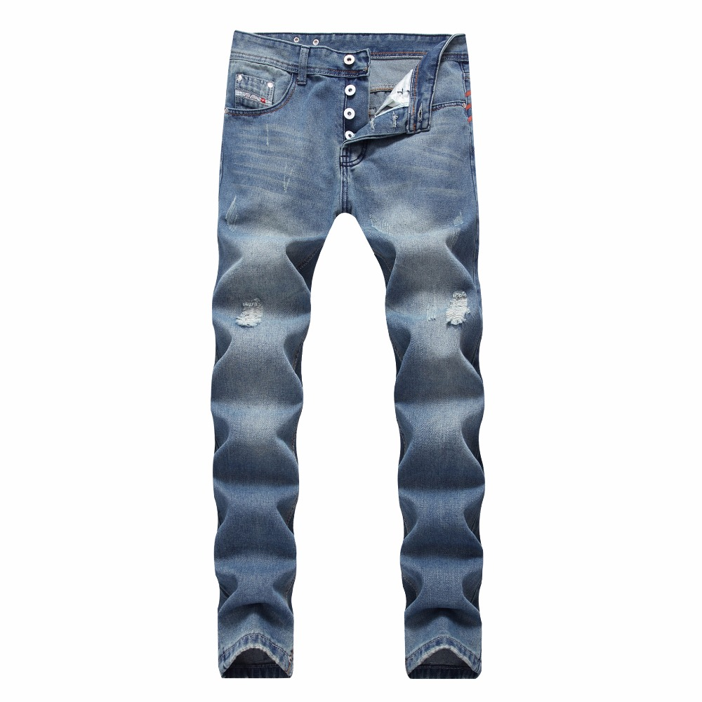 2018 HOT high quality Retro Teenage Men   Jeans   Straight Pants Spring and summer Casual Loose Pants Brand biker   jeans   Big Size