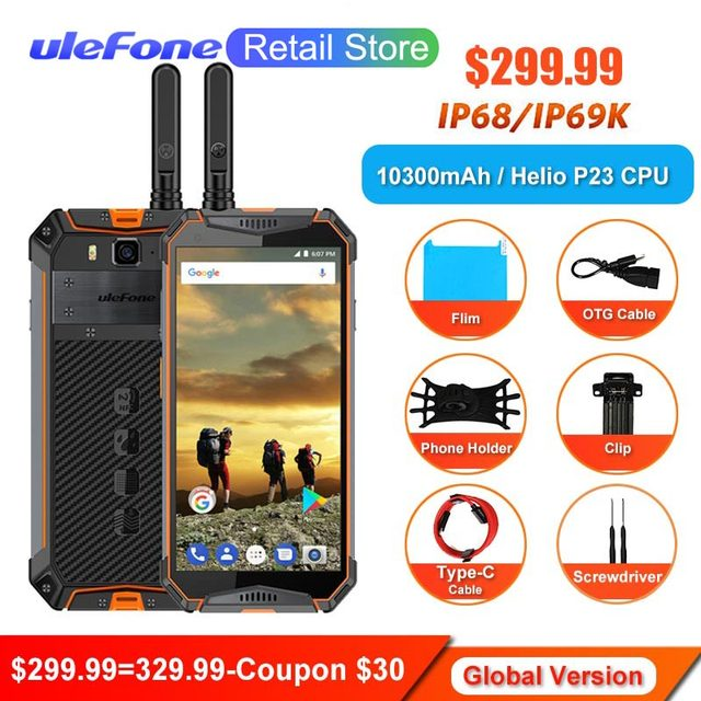 "Ulefone Armor 3T Walkie-talkie IP68 Waterproof Smartphone Helio P23 Face ID 5.7"" 18:9 NFC 4G 64G Android 8.1 10300mAh 4G Phones"