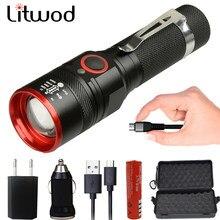 Litwod 1511 5200lm led usb recarregável 18650 bateria lanterna xm-l t6 zoomable 4 modos tocha lâmpadas ajustável lanterna preto