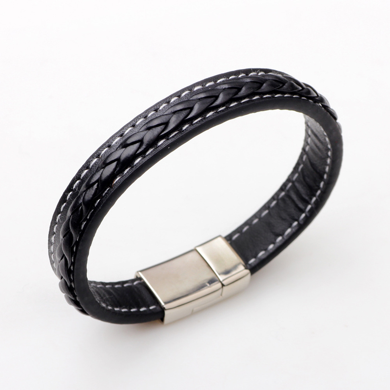 Vintage Black Brown Genuine Leather Bracelet Men Magnet Clasp Stainless Steel Cuff Bracelets Bangles Male Fashion Jewelry bracelet