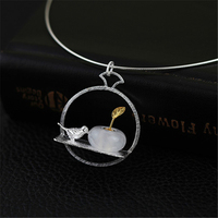 Lotus Fun Real 925 Sterling Silver Natural Jade Handmade Fine Jewelry Bird and Flower Design Pendant without Chain for Women