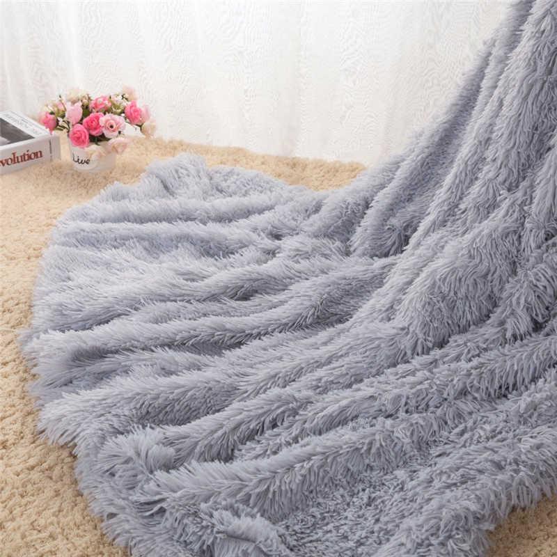 Người lớn Fluffy PV Sang Trọng Lông Cừu Ném Chăn Rắn Xám Màu Hồng Mùa Đông Chăn Giường Đôi Kích Thước Đầy Đủ Trang Trí Nội Thất Len Bắt Chước chăn