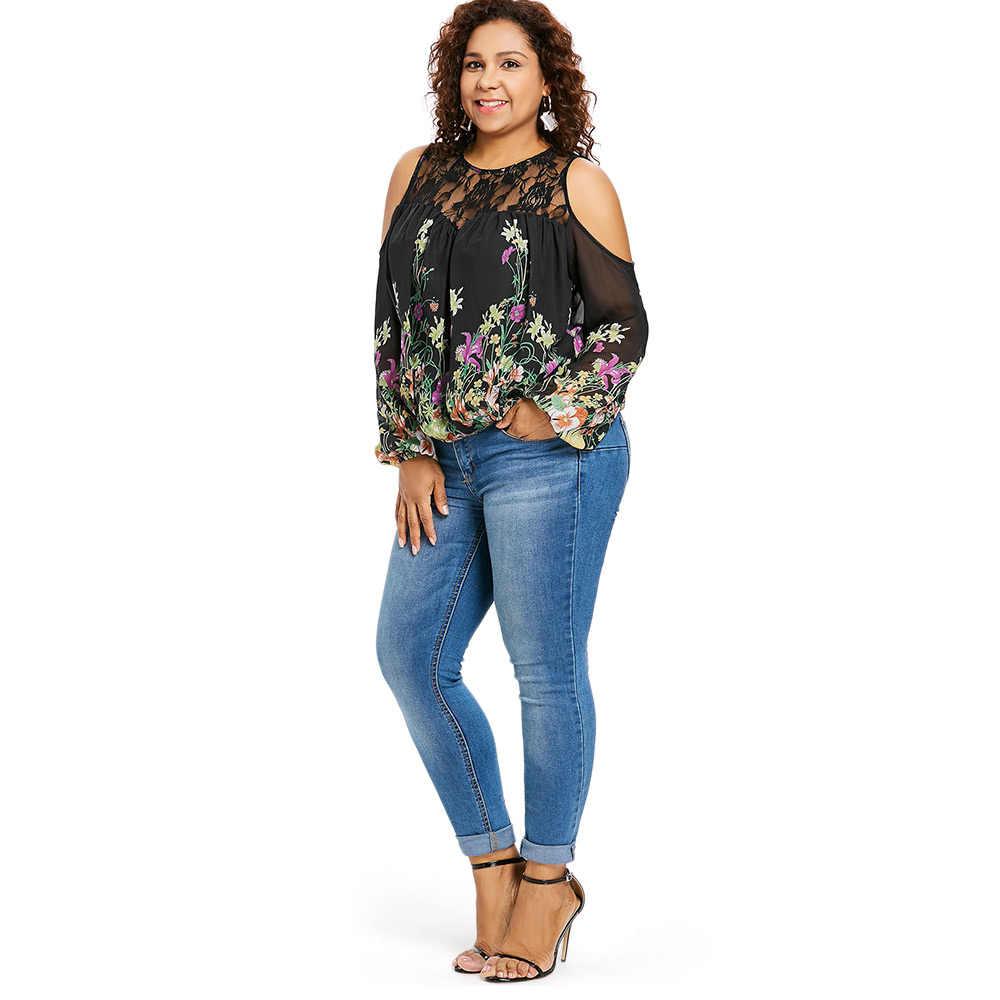 6762702bb87d60 ... Wipalo Plus Size 5XL Cold Shoulder Floral Print Lace Panel Blouse Women  Long Sleeve O Neck ...