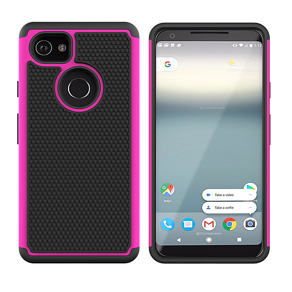 Dual Layer Hybrid Armor Case For Google Pixel 2 XL XL2 With Screen Protector Hard PC TPU Anti Shock Cover For Google Pixel 2 XL