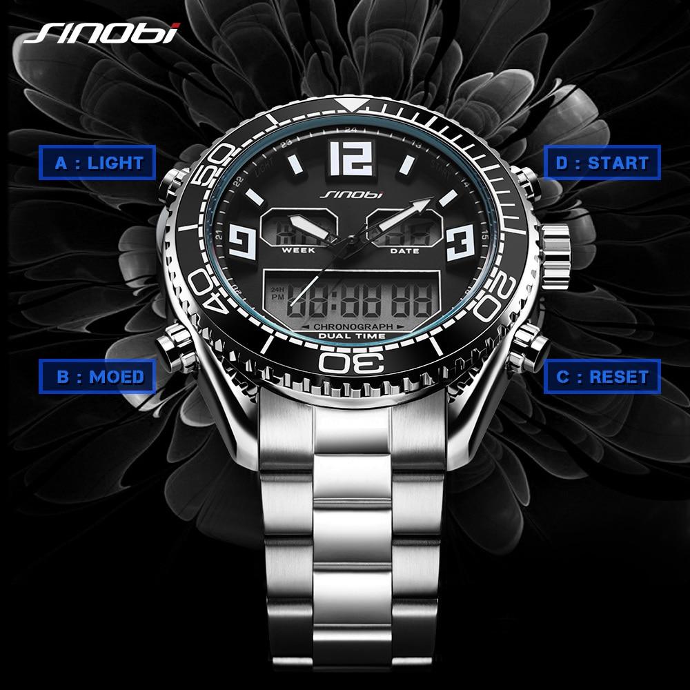 SINOBI Watch Digital White Chronograph Quartz Army Waterproof Men Relogio Date Male Masculino