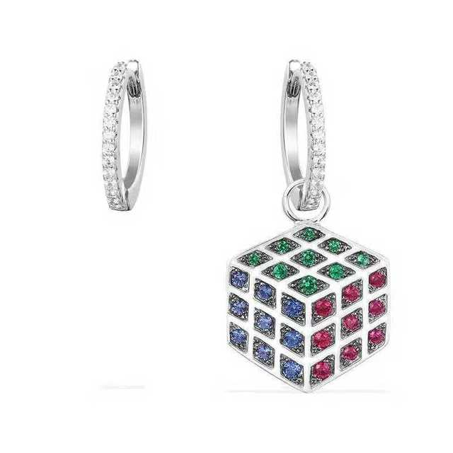 [MeiBaPJ]Real 925 Sterling Silver Personality Magic Cube Asymmetric Earrings for Women with AAA High Quality Stone Jewelry