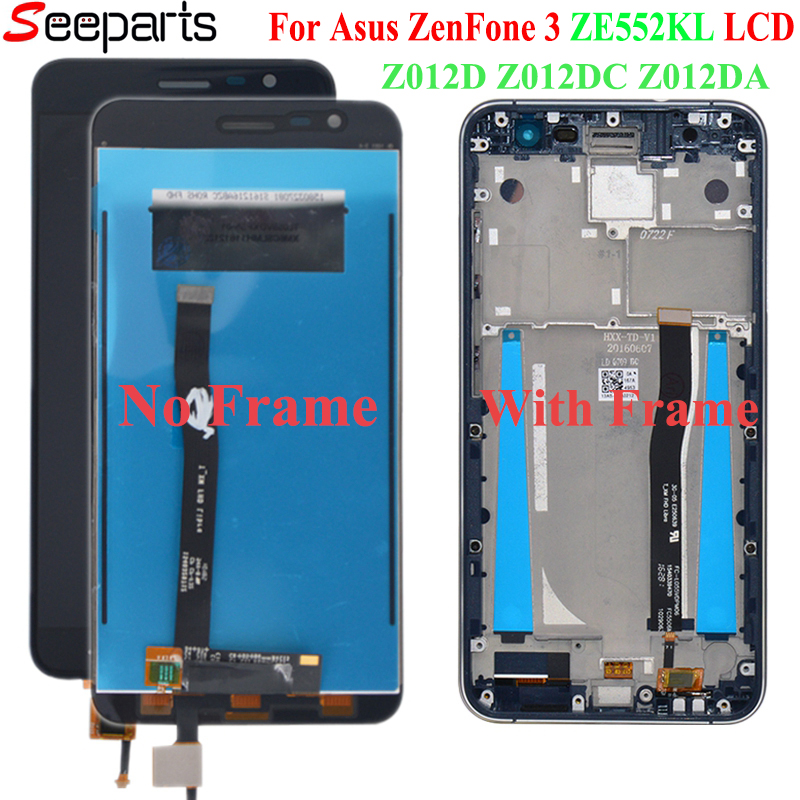 For <font><b>Asus</b></font> <font><b>ZenFone</b></font> <font><b>3</b></font> <font><b>ZE552KL</b></font> <font><b>LCD</b></font> <font><b>Display</b></font> Panel Touch Screen Digitizer Assembly Frame For <font><b>ASUS</b></font> <font><b>ZE552KL</b></font> <font><b>LCD</b></font> Z012D Z012DC Z012DA image