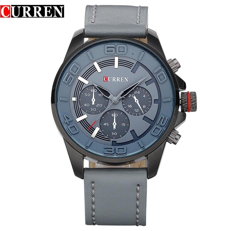 Prix pour Curren nouvelle marque de mode conception hommes d'affaires horloge casual en cuir de luxe poignet quartz armée sport montre 8187