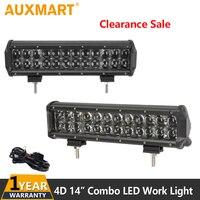 Auxmart 4D 72W 14 Inch Straight LED Light Bar Flood Spot Beam Car Auto Led Work