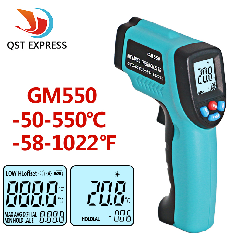 GM550 -50~550 C Digital infrared Thermometer Pyrometer Aquarium laser Thermometer Outdoor thermometer new uni t ut302b 32 550 c 20 1 infrared thermometer