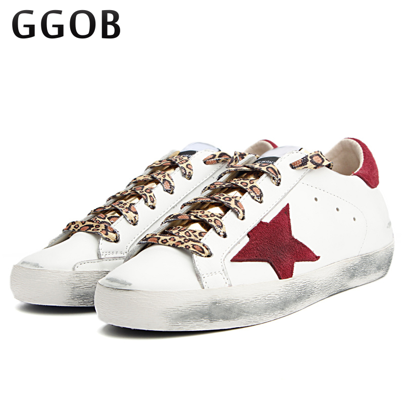 GGOB Handmade 2018 Women Casual Shoes Genuine Leather Do Old Dirty Shoes ladies shoes Red Star Cowhide trainers leather Shoes original handmade autumn women genuine leather shoes cowhide loafers real skin shoes folk style ladies flat shoes for mom sapato