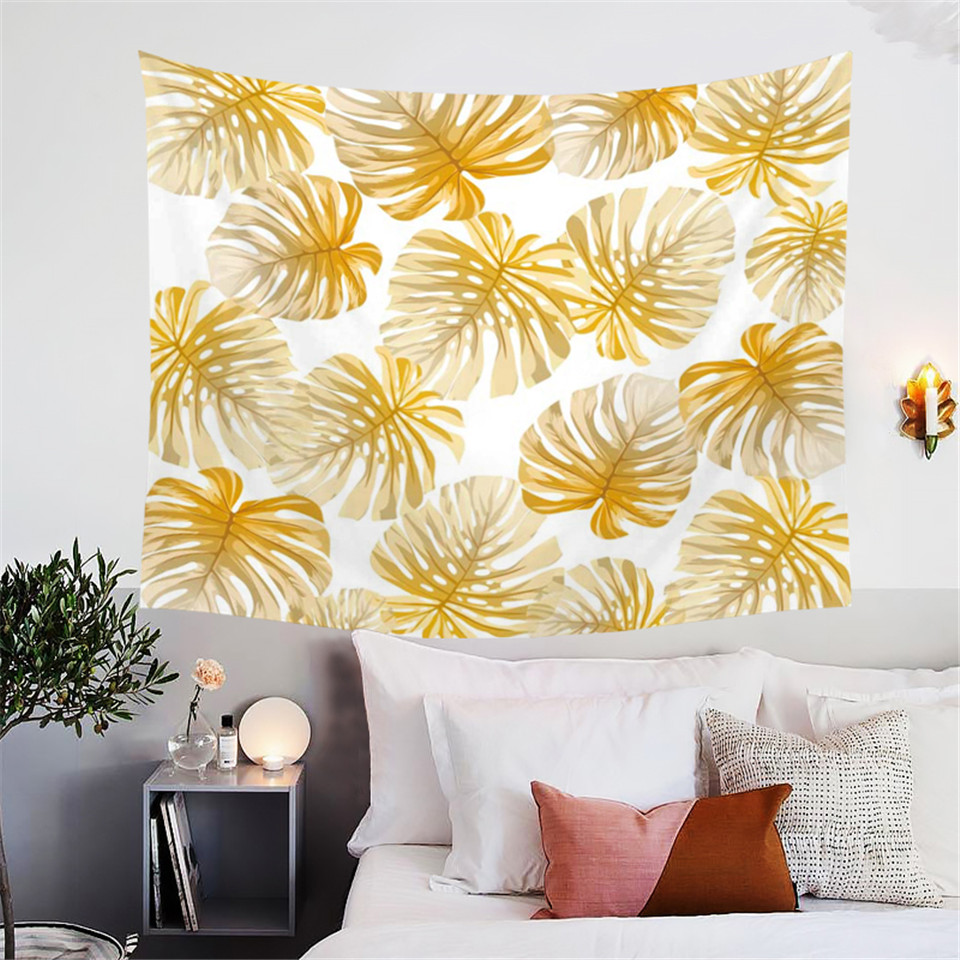 BlessLiving Modern Leaf Tapestry Wall Hanging Tropical Leaves Nature ...