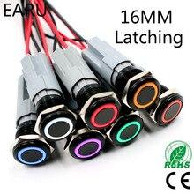 Металлический кнопочный переключатель, черный корпус из оксида алюминия, 16 мм, водостойкий, 3 в, 5 В, 12 В, 24 В, 220 В, светодиодный светильник, фик...