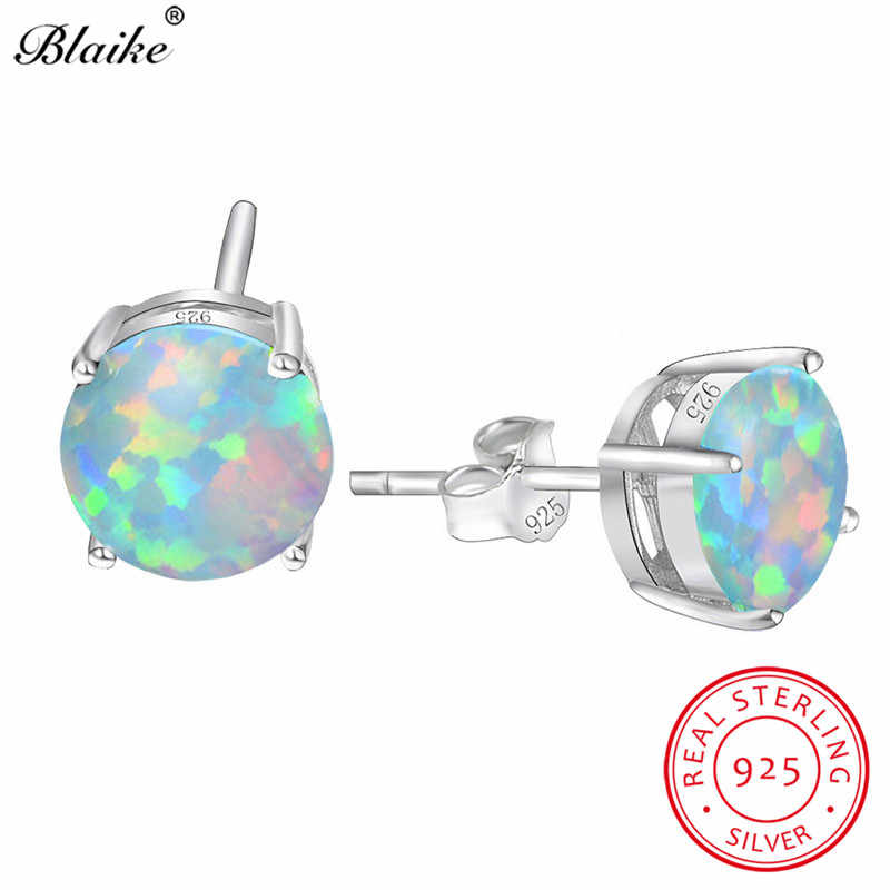 Blaike Real 100% 925 Sterling Silver White/Blue/Green Opal Stud Earrings For Women Mystic Rainbow Zircon Earrings Fine Jewelry