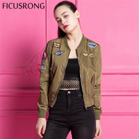 FICUSRONG Vintage Patch Designs Basic Jacket Coat Spring Autumn Street Bomber Jacket Women Reversible Baseball Jackets