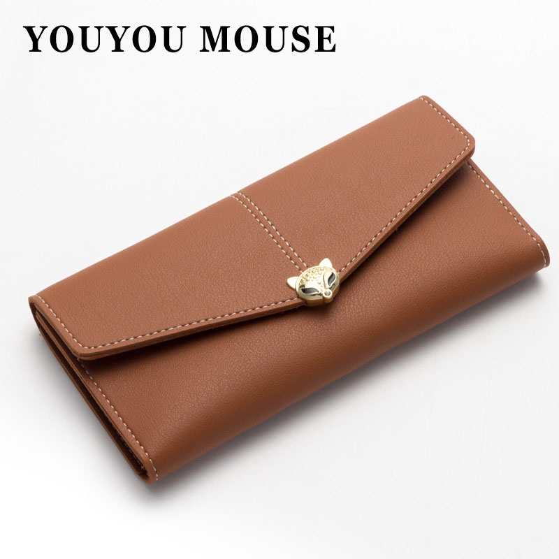 YOUYOU MOUSE Lady Wallet Long 3 Fold Korean Style Zipper Buckle Money Bag Soft Leather Multi-Card Wallets Coin Purse Women Bags youyou mouse high quality women long wallets fashion pu leather money wallet 6 colors lady clutch coin purse card