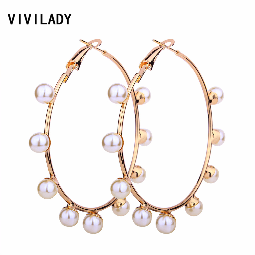VIVILADY Boho Imitation Pearl Round Circle Hoop Earrings Women Gold Color Brincos Statement Bijoux Mother Day Jewelry Party Gift