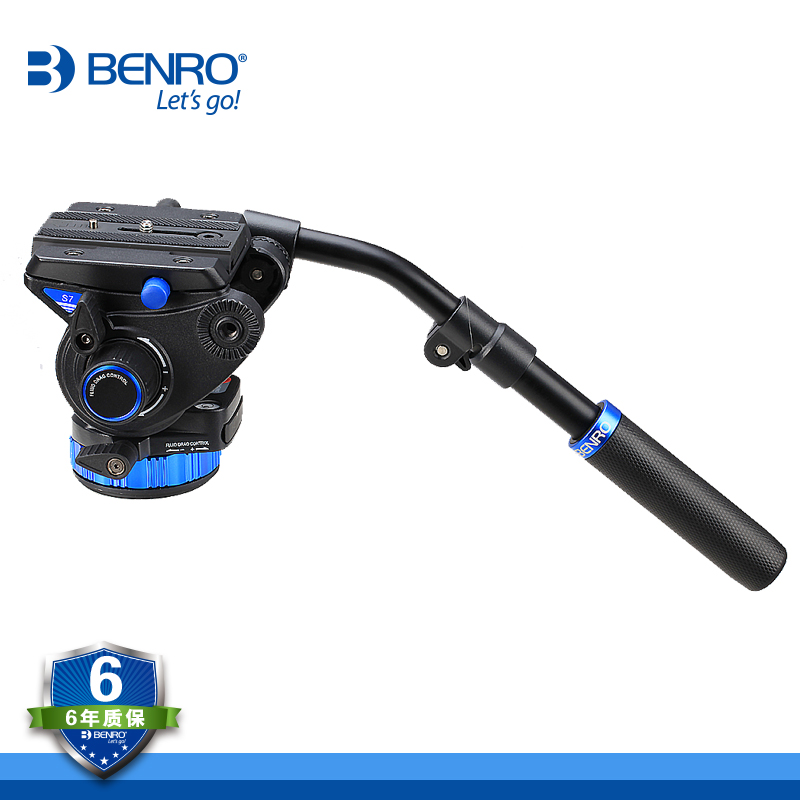 BENRO S7 Video Head S Series Professional Video Head QR6 Quick Release Plate For HDV Photographer Max Load 7kg benro s2 pro video heads aluminum hydraulic head for video tripod qr4 quick release system max load 2 5kg free shipping