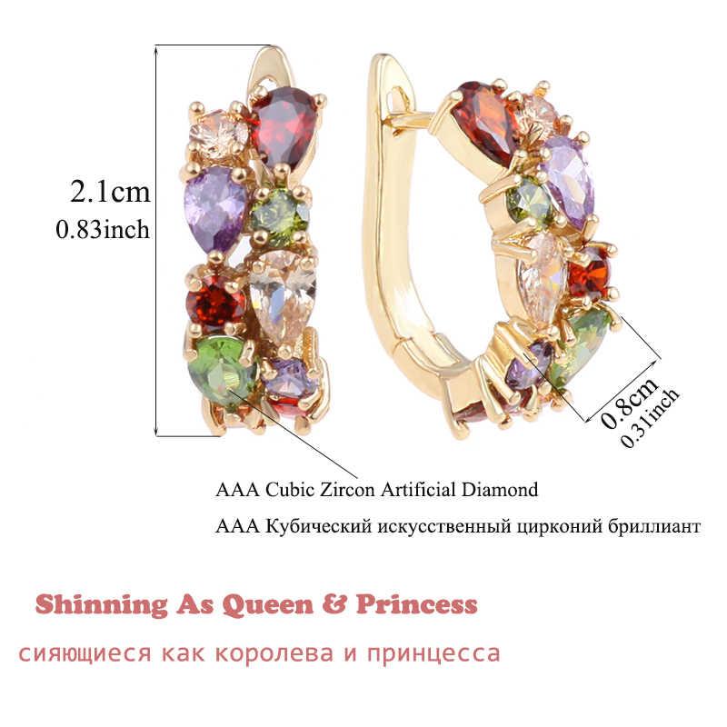 Heißer Multicolor Mode Schmuck Mona Lisa AAA Qualität CZ Luxus Bunte Kristall Stud Ohrringe Für Frauen Partei Mädchen Geschenk AE199