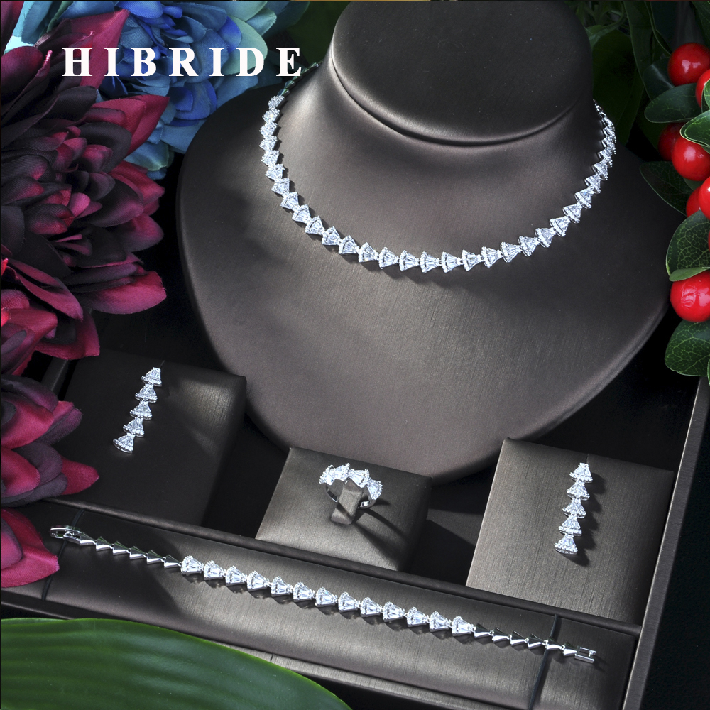 HIBRIDE Fashion Jewelry Design V Shape 4pcs Set For Women New Bride Wedding Jewelry Sets With