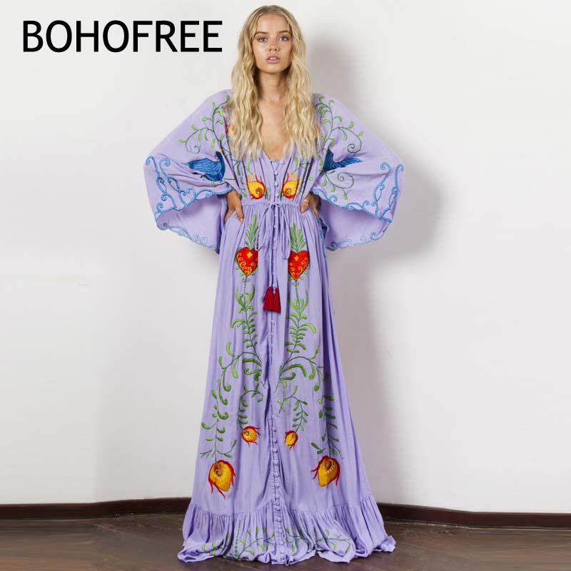 BOHOFREE Gorgeous Floral Embroidery Long Robe V Neck Loose Batwing Sleeve Ruffles Mujer Button Maxi Hippie Holiday Beach Dress batwing sleeve button jumpsuit