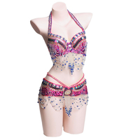 2018 New Stage Performance Belly Dancing Costumes 2 Pieces Eastern Style Sequined Beaded Top Belly Dance Bra and Belt