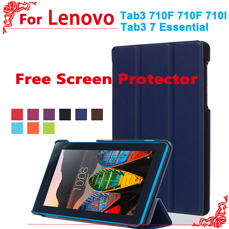Newest Stand PU Leather Case For Lenovo tab 3 7.0 710 essential tab3 710F/I 7Tablet Case Flip Cover + free 2 Screen Protector