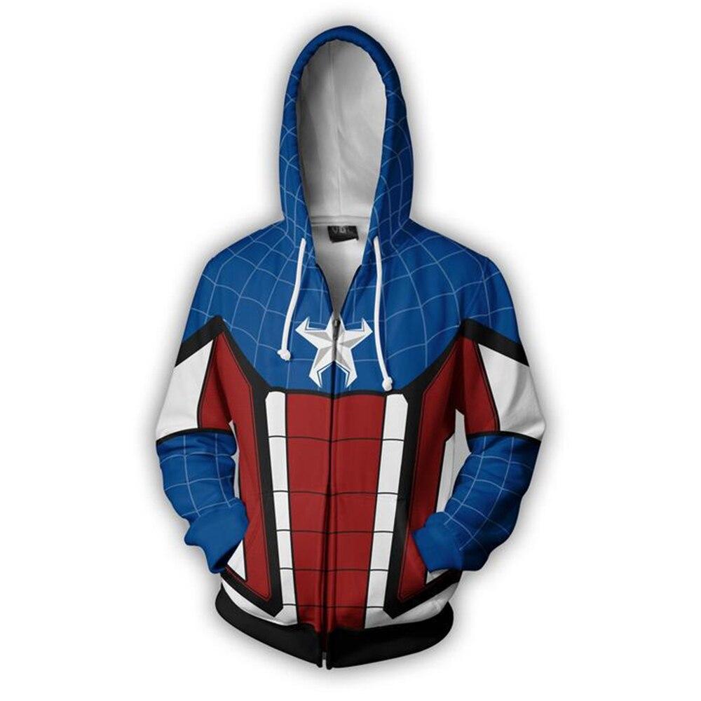 Captain America spider-man Hoodie Sweatshirts man 3D Print Unisex Streetwear Spring Winter Flash Hoody Zipper Hooded jacket