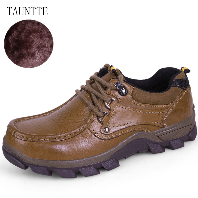 Tauntte Winter Genuine Leather Shoes Men Cow Leather Casual Shoes With Fur Plus Size white 7 inch touch screen digitizer glass sensor panel replacement for archos 70b xenon tablet free shipping