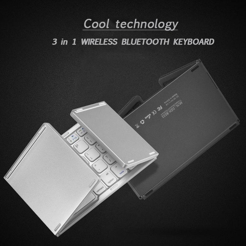 iMice Portable Twice Folding Bluetooth Keyboard BT Wireless Foldable Touchpad Keypad for IOS/Android/Windows ipad Travel Keypad