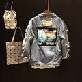 Весна лето новинка знак патч-стиль оснастки голубая дыра нищий джинсовая куртка добычу женщин девушка одежда casualstyle наряд