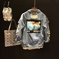 Primavera verano nuevo diseño parche insignia herramental estilo azul del agujero del mendigo denim chaqueta del swag ropa niña casualstyle outfit