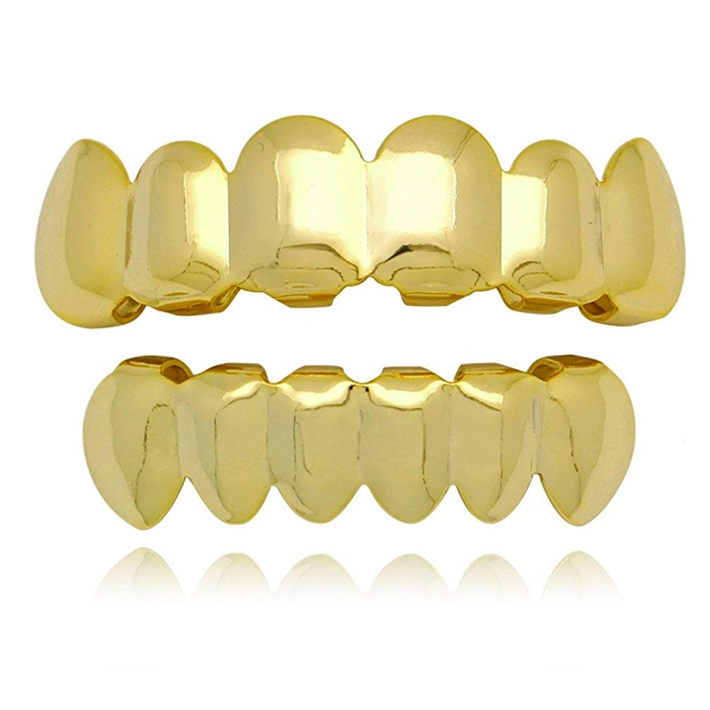 14k Gold Plated Hip Hop Teeth Grillz Caps 6 Top And Bottom Grillz Teeth Whitening Denture Paste False Teeth Veneers Dropshipping