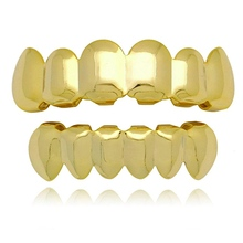 цена на 14k Gold Plated Hip Hop Teeth Grillz Caps 6 Top and Bottom Grillz Teeth Whitening Denture Paste False Teeth Veneers Dropshipping