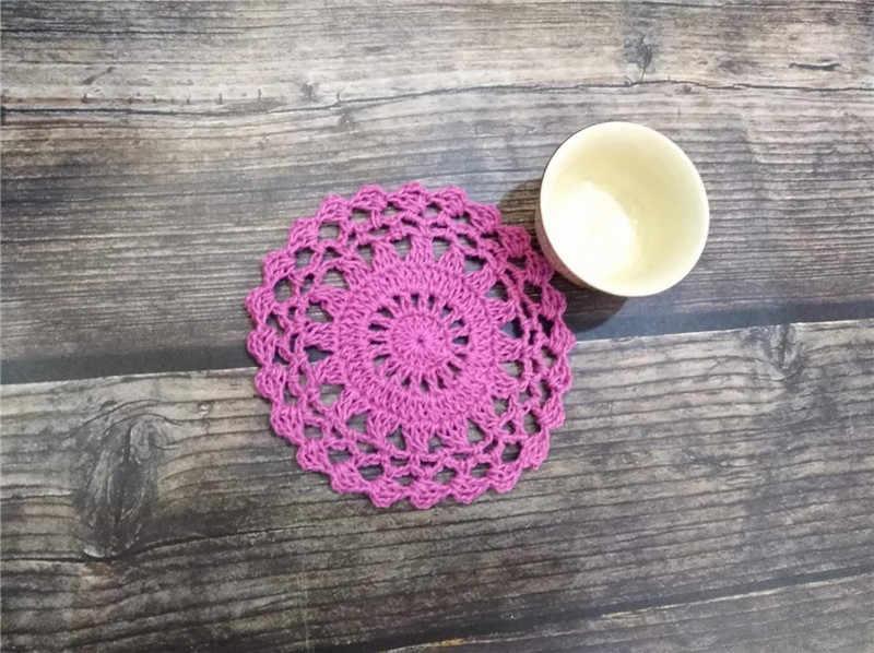 10 CM עגול בציר כותנה תחרה סרוגה מפית מפית שולחן מפית Coaster תה כוס קפה ספל שולחן מחצלות עבור בית תפאורה כרית