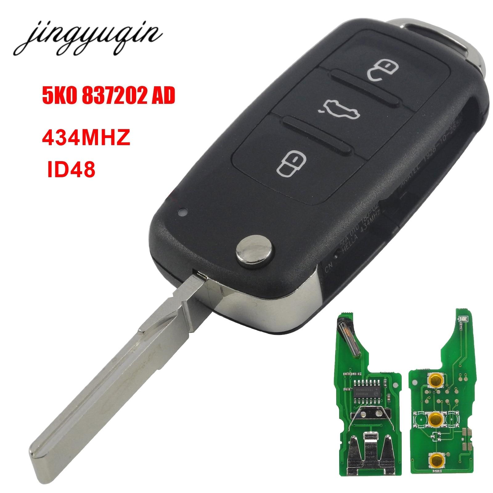 jingyuqin 3BTN Remote Flip key 434MHz ID48 Chip for VW Volkswagen GOLF PASSAT Tiguan Polo Jetta Beetle Car Keyless 5K0837202AD