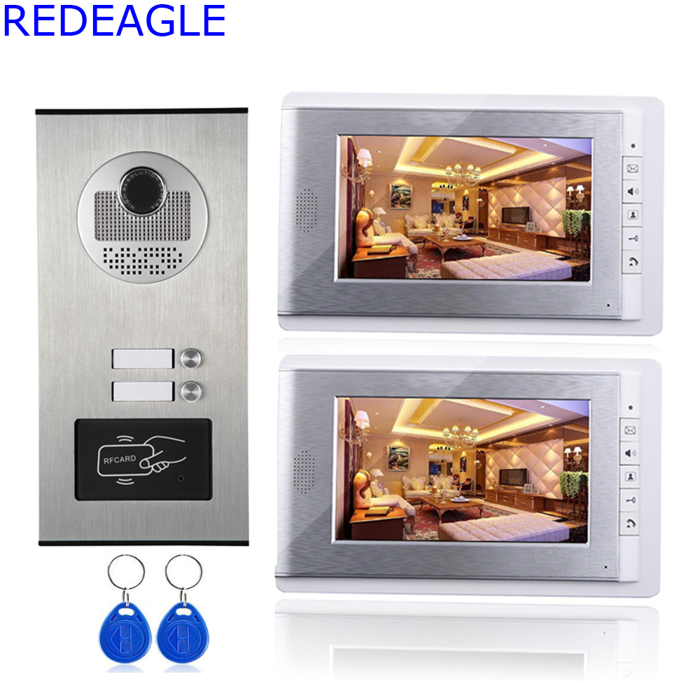Two Unit Apartment 7 inch LCD Video Door Phone Intercom System + RFID Access Outdoor Nihgt Vision Camera for 2 Family my apartment