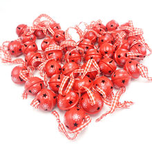 Christmas decoration 40 pcs red metal snowflake jingle bell ornament for home 30mm party tree pendant 2019