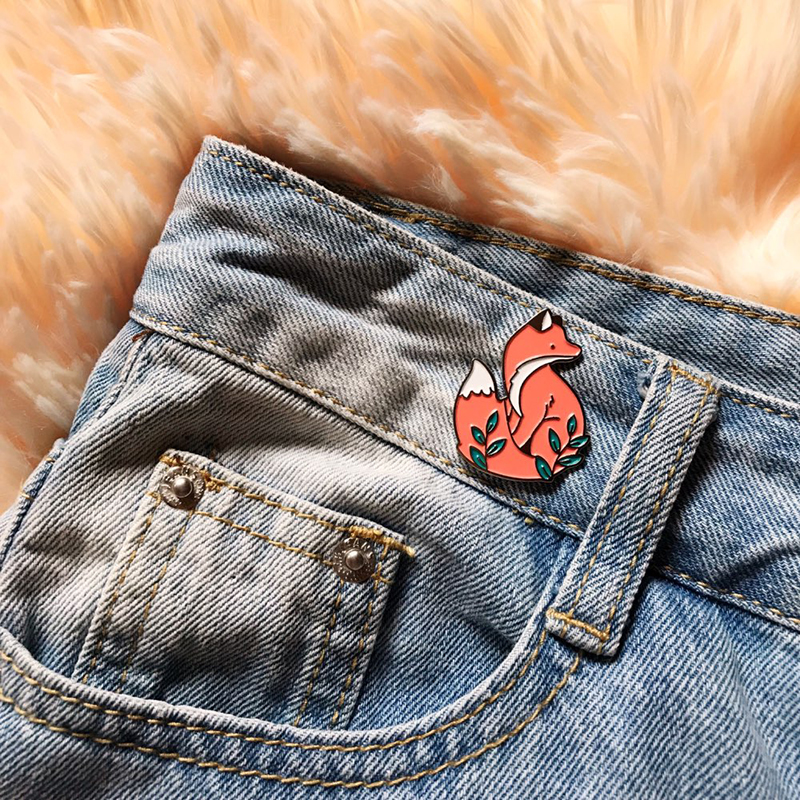 Forest Elf Collection Enamel Pins Cartoon Animals Brooches Fox Bee Rabbit Flowers Lapel Pin Custom Badges Gift for Kids Girl 3